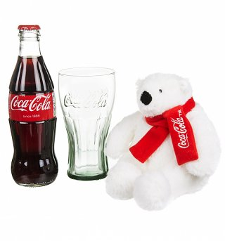Coca-Cola Christmas Polar Bear, Bottle and Contour Glass Gift Set