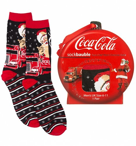Coca-Cola Christmas Santa And Truck Socks In A Bauble