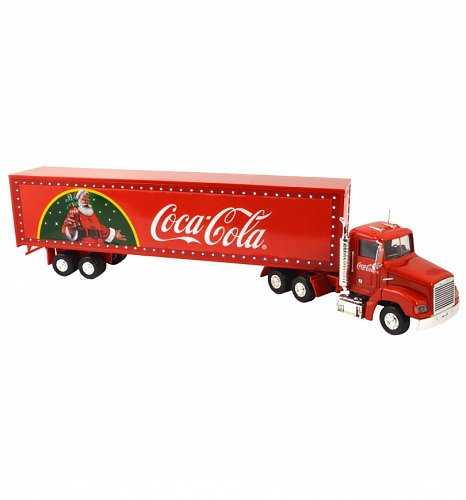 Coca-Cola Christmas Truck With Light Up LED Trailer 1:43 Scale Diecast Model