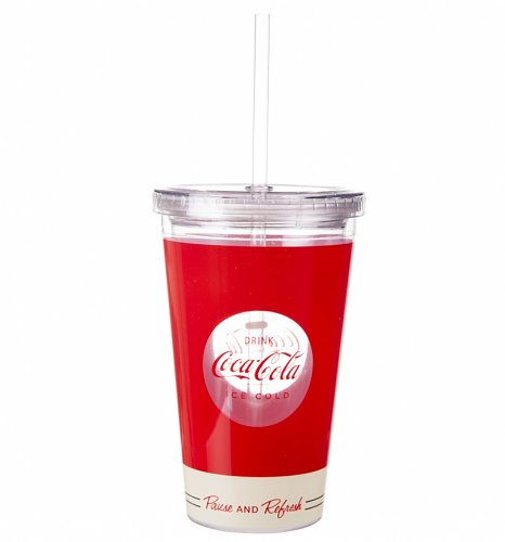 Coca-Cola Pause and Refresh Acrylic Travel Cup & Straw