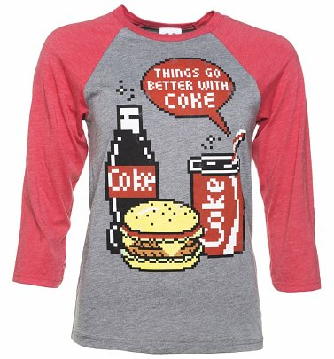 Coca-Cola Pixels Heather Grey And Red Raglan Baseball T-Shirt