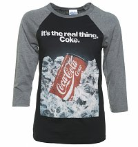 Coca-Cola Retro Advert Black And Grey Raglan Baseball T-Shirt