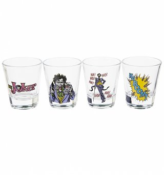 DC Comics Joker Comic Book Set of 4 Shot Glasses