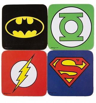 DC Comics Superhero Logo Set of 4 Coasters