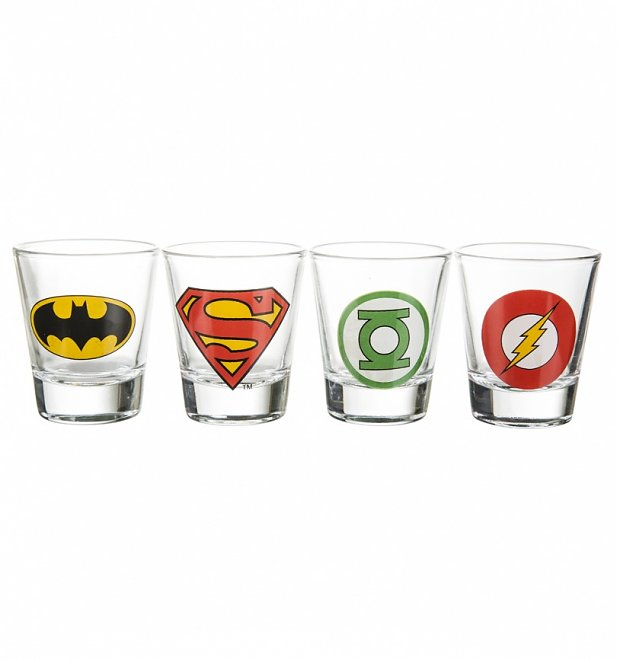 DC Comics Superhero Logos Set of 4 Shot Glasses