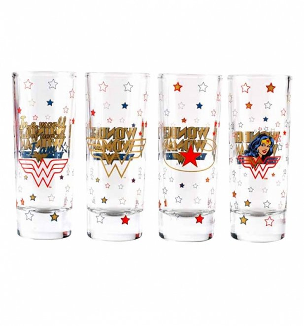 DC Comics Wonder Woman Boxed Set Of 4 Mini Glasses