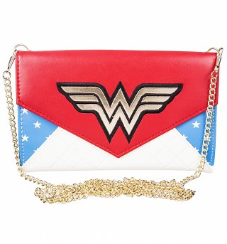 DC Comics Wonder Woman Stars Clutch Bag With Chain