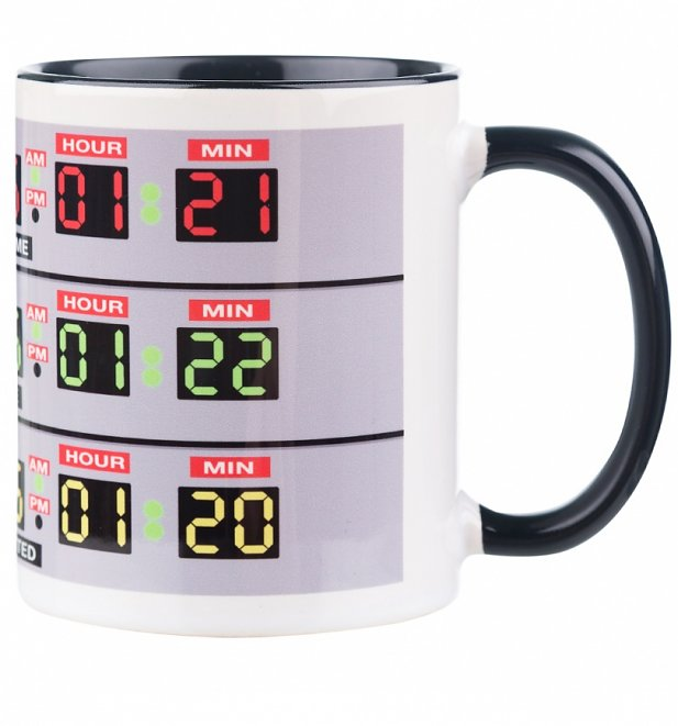 Delorean Time Lines Black Handle Mug