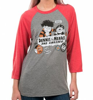 Dennis The Menace And Gnasher Beano Badges Grey And Red Raglan Baseball T-Shirt