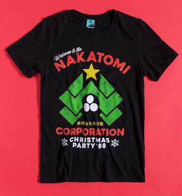 Die Hard Inspired Nakatomi Corporation Christmas Black T-Shirt