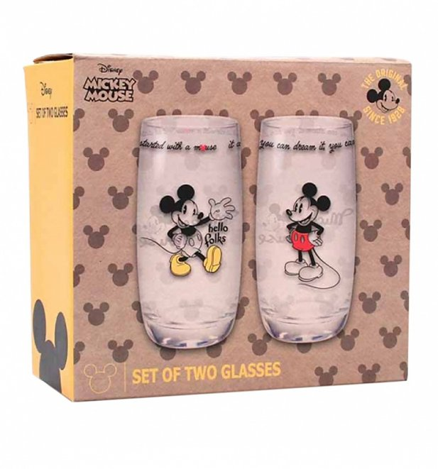 Disney Mickey Mouse Set Of 2 Boxed Glasses