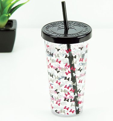 Disney Minnie Mouse Bow Print Cup With Straw