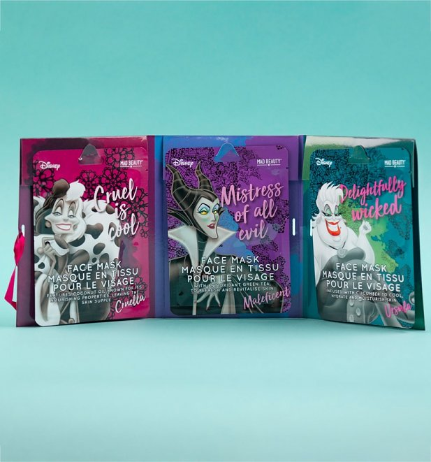 Disney Set Of 3 Villains Sheet Face Mask Collection from Mad Beauty