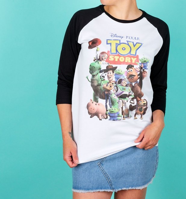 Disney Toy Story Gang White And Black Baseball Shirt