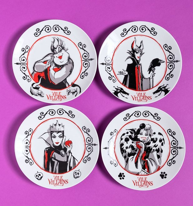 Disney Villains Set of Four Plates