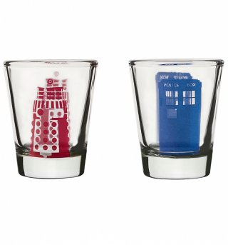Doctor Who Tardis And Dalek Set Of 2 Shot Glasses
