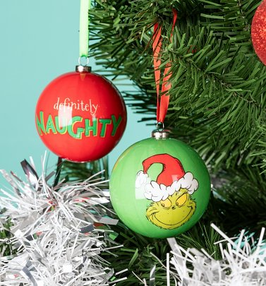 Dr Seuss The Grinch Set of 2 Naughty and Good Baubles