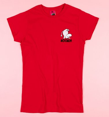 Embroidered Moomin Red Fitted T-Shirt