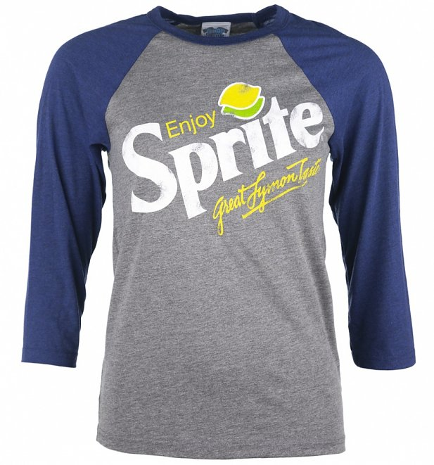 Enjoy Sprite Grey And Navy Raglan Baseball T-Shirt