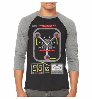 Flux Capacitor Black And Grey Raglan Baseball T-Shirt
