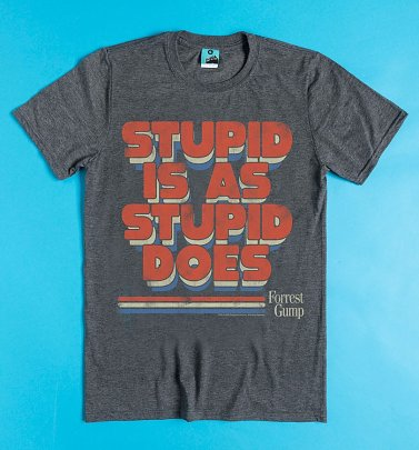 Forrest Gump Stupid Is As Stupid Does Charcoal Marl T-Shirt