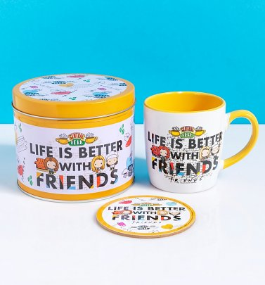 Friends Chibi Life is Better With Friends Coffee Mug and Coaster in Tin