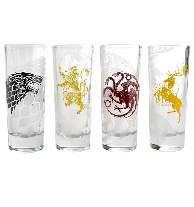 Game Of Thrones Houses Logos Set of 4 Mini Glasses