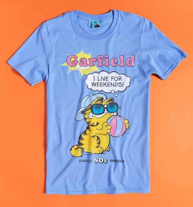 Garfield I Live For Weekends Blue T-Shirt