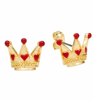 Gold Plated Alice In Wonderland Crown Stud Earrings from Disney Couture
