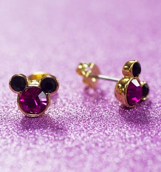 Gold Plated And Pink Mickey Mouse Head Stud Earrings from Disney Couture