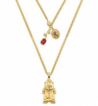 Gold Plated Beauty & The Beast Cogsworth Necklace from Disney Couture