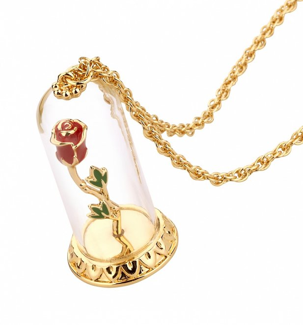 Gold Plated Beauty & The Beast Enchanted Rose Dome Necklace from Disney Couture