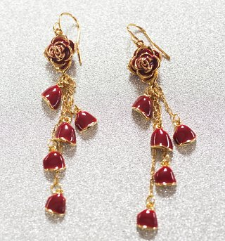 Gold Plated Beauty And The Beast Belle Red Rose Petals Drop Earrings from Disney Couture