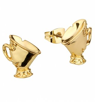 Gold Plated Beauty & The Beast Chip Stud Earrings from Disney Couture