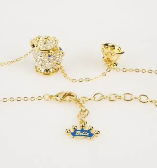Gold Plated Beauty & The Beast Mrs Potts Crystal Charm and Necklace from Disney Couture