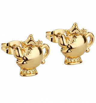 Gold Plated Beauty & The Beast Mrs Potts Stud Earrings from Disney Couture