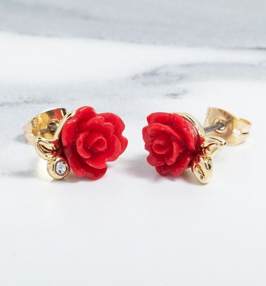 Gold Plated Beauty & The Beast Enchanted Rose Stud Earrings