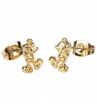 Gold Plated Mickey Mouse Figure Stud Earrings from Disney Couture