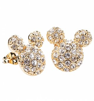 Gold Plated Pave Crystal Mickey Large Stud Earrings from Disney Couture