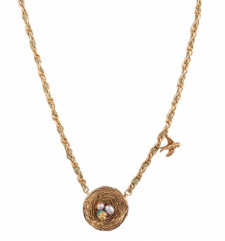 Gold Plated Pixie Hollow Nest Necklace from Disney Couture