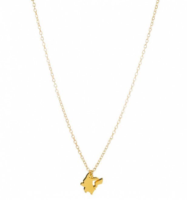 Gold Plated Pokemon Pikachu Silhouette Pendant Necklace