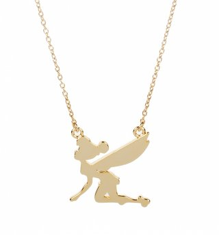 Gold Plated Silhouette Flying Tinker Bell Necklace from Disney Couture