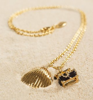 Gold Plated The Little Mermaid Treasure Chest And Shell Necklace from Disney Couture