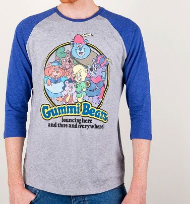 Gummi Bears Heather Grey And Heather Indigo Raglan Baseball Shirt