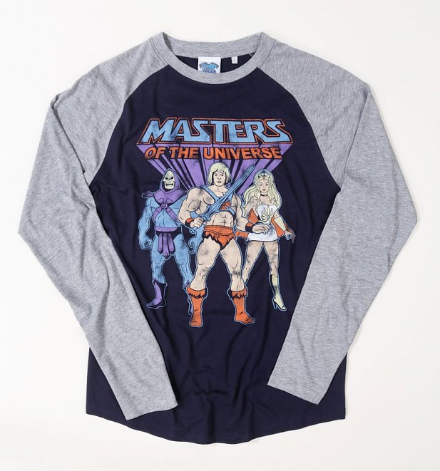He-Man, She-Ra And Skeletor Oxford Navy And Heather Grey Raglan Baseball Shirt