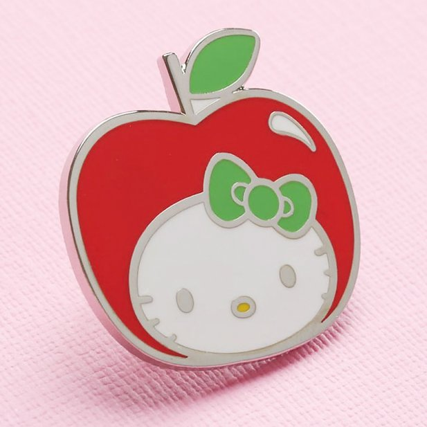 Hello Kitty Apple Head Enamel Pin from Punky Pins