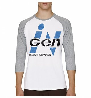 White And Grey Jurassic Park Inspired InGen Logo Raglan Baseball T-Shirt