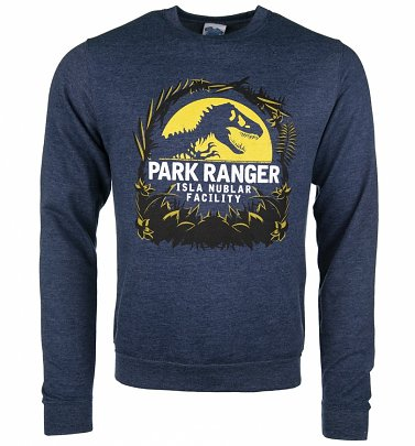 Jurassic Park Isla Nublar Facility Heather Navy Sweater