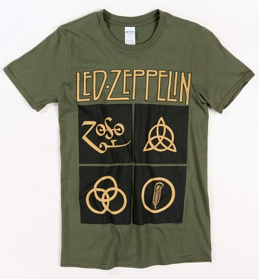 Khaki Led Zeppelin Symbols T-Shirt