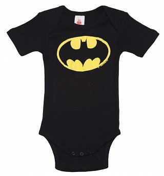 Kids Black DC Comics Batman Logo Babygrow